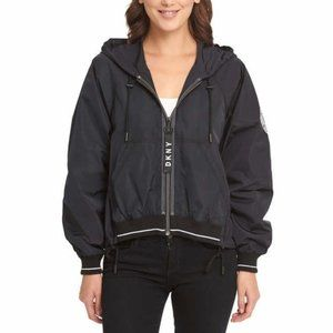 DKNY NYC Slightly Cropped Black Windbreaker NWT
